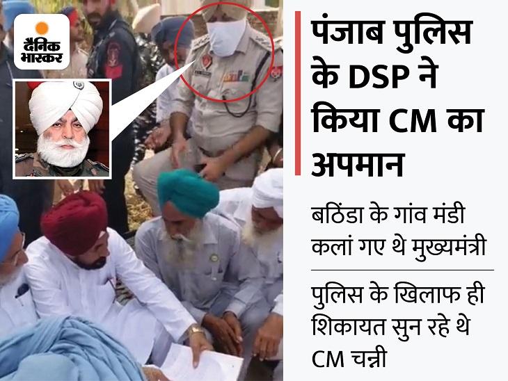 जिस चारपाई पर बैठकर CM चन्नी किसानों से कर रहे थे बात, उसी पर पैर रखकर खड़ा रहा बठिंडा पुलिस का DSP|जालंधर,Jalandhar - Dainik Bhaskar