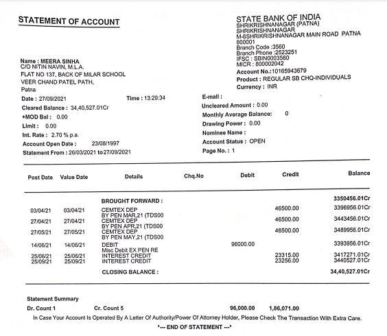 मंत्री नितिन नवीन ने अपने दावे के समर्थन में अपनी मां के बैंक एकाउंट का स्टेटमेंट भास्कर को उपलब्ध कराया है।