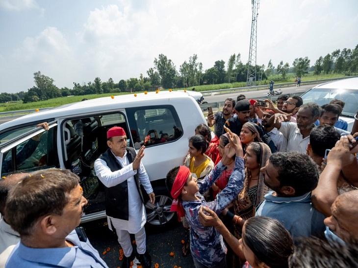 बिजली कटौती जलभराव से जूझ रही जनता का नहीं लिया हाल, पूर्व मंत्री के घर से वापस लौट गए अखिलेश यादव|आजमगढ़,Azamgarh - Dainik Bhaskar