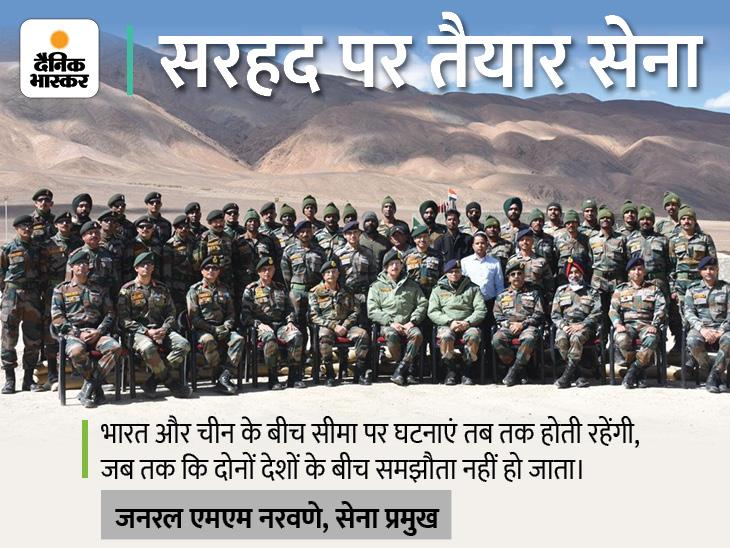 LAC पर चीनी हरकतों के बीच जनरल नरवणे ने फॉरवर्ड पोस्ट का दौरा किया, सेना की तैयारियों का लिया जायजा|देश,National - Dainik Bhaskar