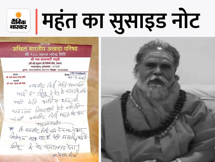 नरेंद्र गिरि के दस्तखत बैंक दस्तावेजों से मैच हुए; CBI आरोपी शिष्य आनंद गिरि का लाई डिटेक्टर टेस्ट कराएगी|प्रयागराज (इलाहाबाद),Prayagraj (Allahabad) - Dainik Bhaskar