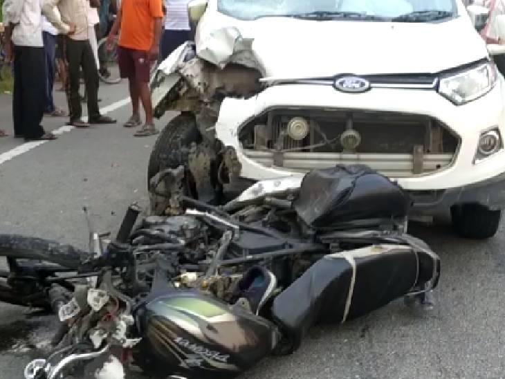 बाजार जा रहे युवकों को टांडा-बांदा हाईवे पर कार ने मारी टक्कर, काफी दूर तक घसीट कर ले गई; एक की मौत सुलतानपुर,Sultanpur - Dainik Bhaskar