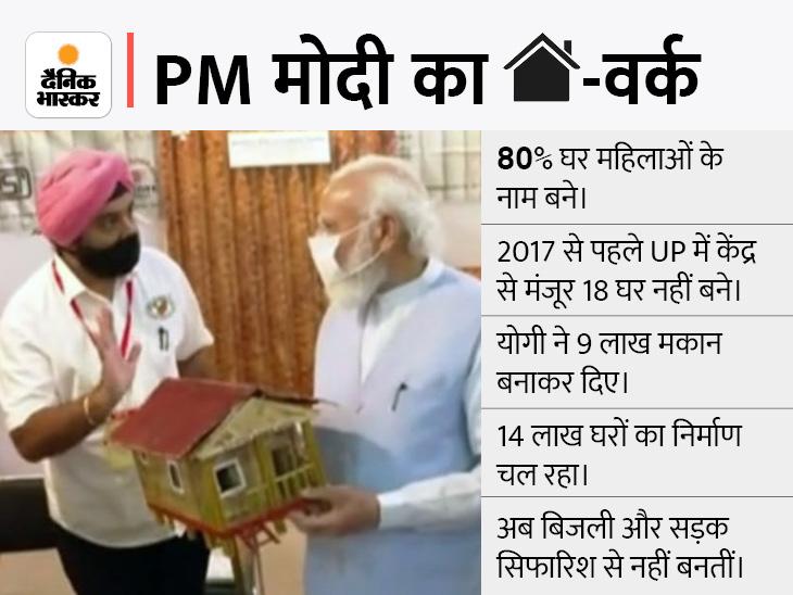 लखनऊ में PM मोदी बोले- जिन 9 लाख परिवारों को घर मिले वे इस बार अयोध्या से ज्यादा दिये जलाएं|लखनऊ,Lucknow - Dainik Bhaskar