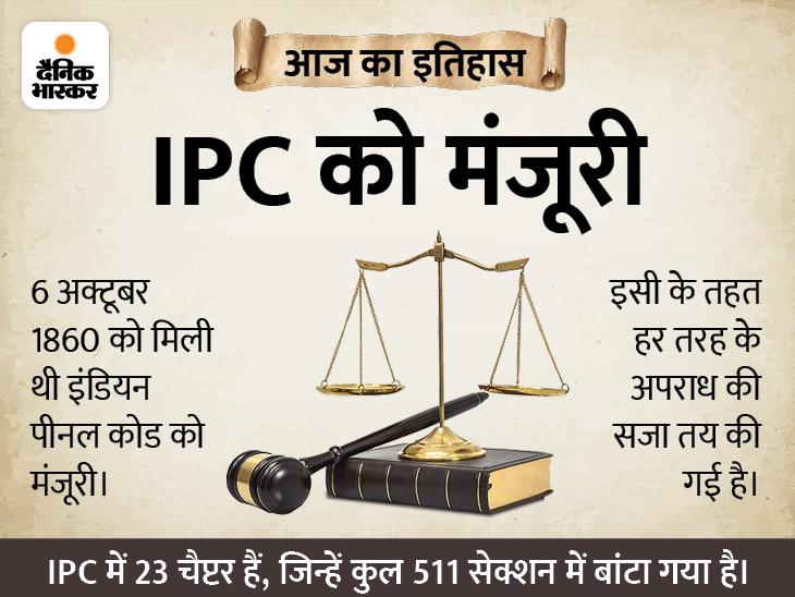 भारत में किस अपराध के लिए क्या सजा मिलेगी इसके लिए 161 साल पहले IPC को मिली मंजूरी, 159 साल पहले लागू हुआ कानून आज भी जारी देश,National - Dainik Bhaskar