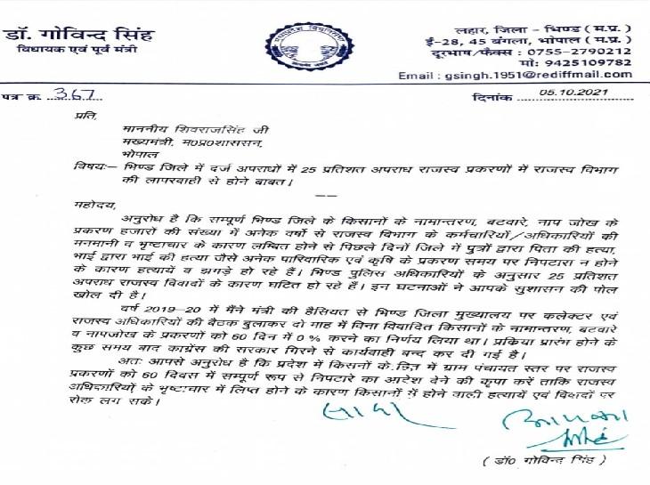 पूर्व मंत्री डॉ. गोविंद सिंह द्वारा पत्र लिखा।
