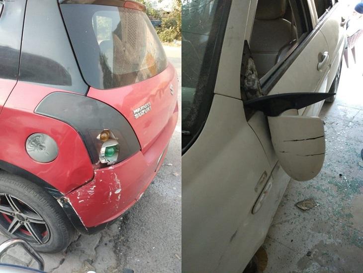 आरोपी ने गैरेज में रखी गाड़ियों को तोड़ दिया। - Dainik Bhaskar