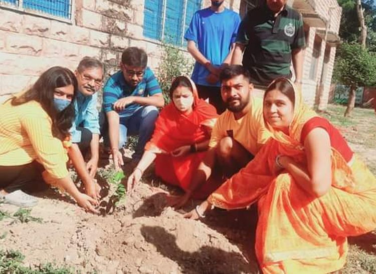 पाली शहर के वीडी नगर स्थित चीमाबाई संचेत स्कूल में पौधरोपण करते अभिनव व अन्य।