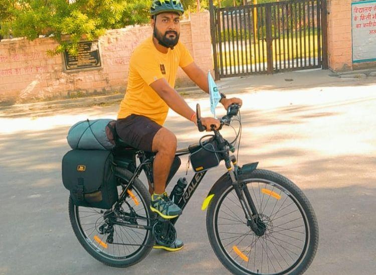 45 दिन में साइकिल से करेंगे, 33 जिलों की यात्रा; 5-5 पौधे रोपित कर देंगे पर्यावरण संरक्षण का संदेश|पाली,Pali - Dainik Bhaskar