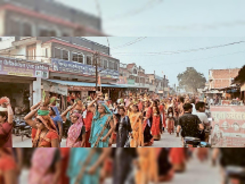 धर्मनगरी कोतबा में कलश यात्रा निकाली गई। - Dainik Bhaskar