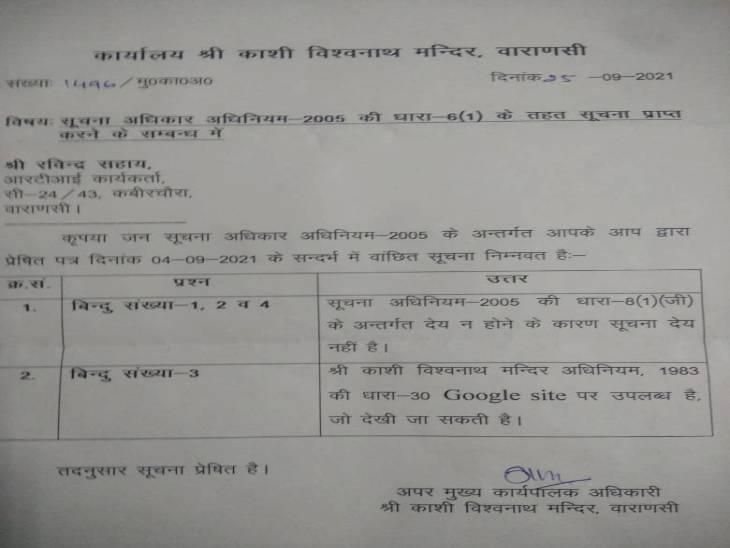 मंदिर प्रशासन से मिला RTI का जवाब पत्र।