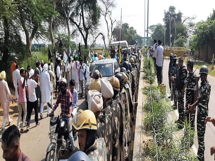 किसानों के विरोध के दौरान व्यवस्था संभालते सुरक्षा बलों के जवान।