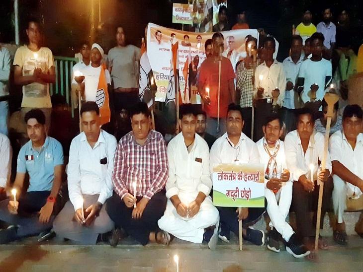 मारे गए किसानों को श्रद्दांजलि देते कांग्रेस नेता। - Dainik Bhaskar