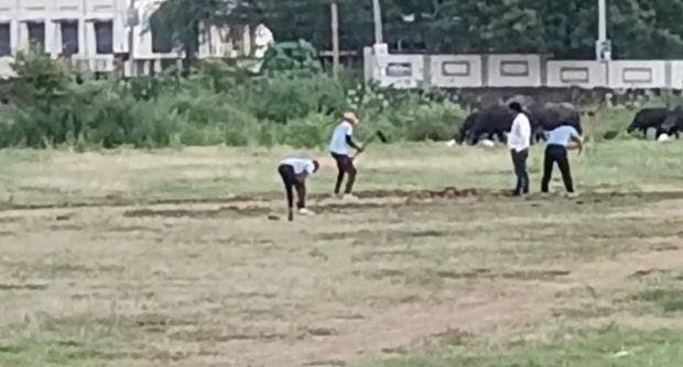 सुबह साढ़े 11 बजे हुई जिला क्रिकेट संघ की नई कार्यकारिणी घोषित, शाम साढ़े 6 बजे नूतन स्कूल ग्राउंड में चार युवाओं ने कर दी पिच तहस-नहस|बांसवाड़ा,Banswara - Dainik Bhaskar