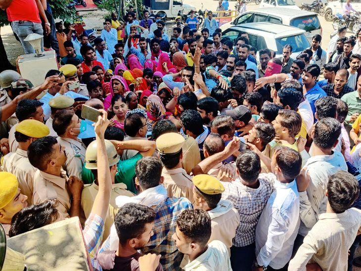 आरोपियों की गिरफ्तारी की मांग को लेकर ग्रामीणों ने किया प्रदर्शन, कुचामनथाने का किया घेराव, जल्द गिरफ्तारी के आश्वासन पर माने|नागौर,Nagaur - Dainik Bhaskar