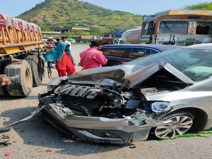 एक के बाद एक 5 गाडियां भिड़ी, गोगुंदा हाइवे पर नयागुड़ा में हुआ हादसा, कार पीछे करने के चक्कर में टकराए वाहन|उदयपुर,Udaipur - Dainik Bhaskar
