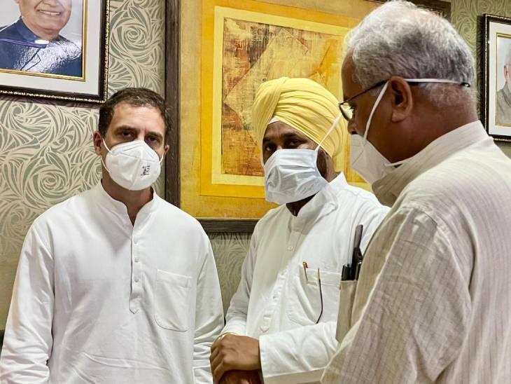 लखनऊ एयरपोर्ट पर राहुल के साथ चरणजीत सिंह चन्नी और भूपेश बघेल।