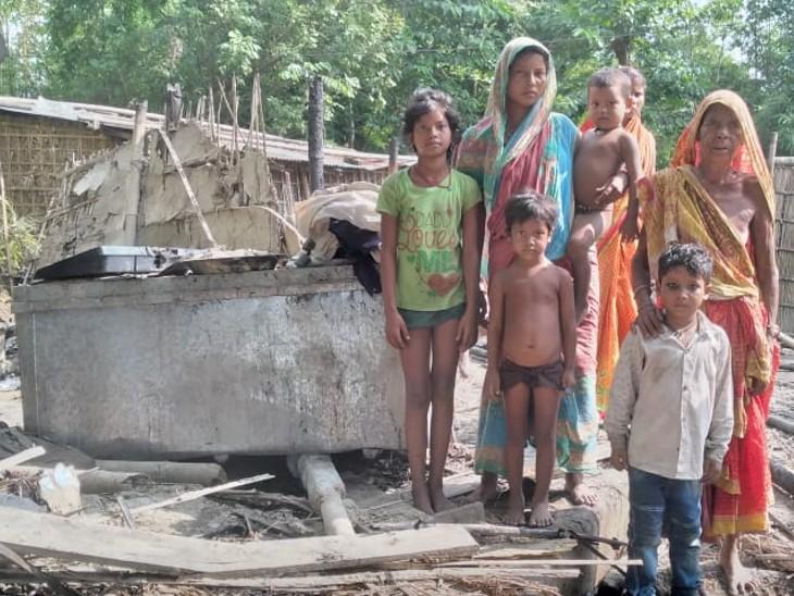 सुपौल में एक परिवार का अशियाना खाक, चार लाख की संपत्ति का नुकसान, 2 गाय की भी गई जान|बिहार,Bihar - Dainik Bhaskar