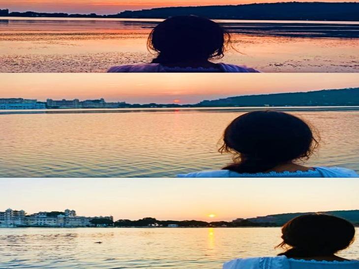 सारा ने शेयर की इंस्टाग्राम पर पीछोला झील की फोटो।