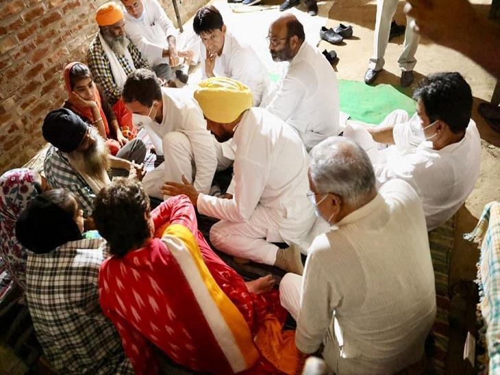 लखीमपुर खीरी हिंसा पीड़ितों से मिलने राहुल गांधी के साथ सीएम चन्नी और भूपेश बघेल।
