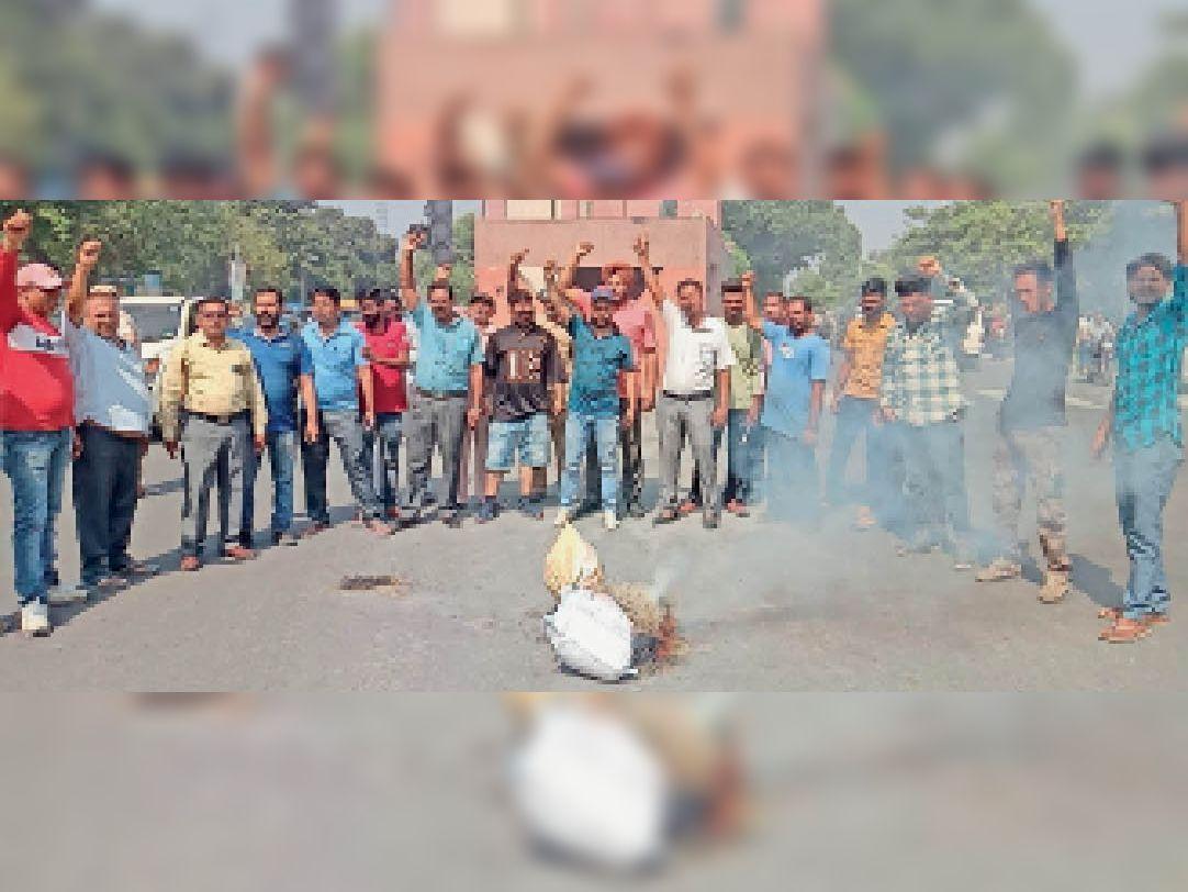 होशियारपुर में केंद्र का पुतला फूंकते बेगमपुरा टाइगर फोर्स के पदाधिकारी व सदस्य। - Dainik Bhaskar