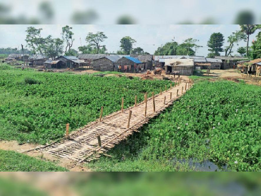 बस्ती को जोड़ने वाली चचरी पुल। - Dainik Bhaskar