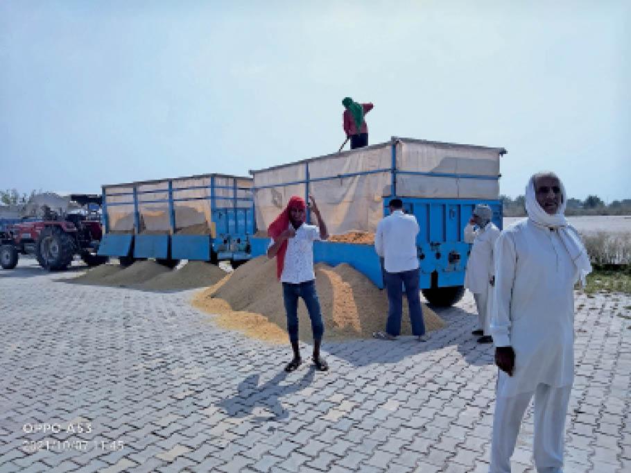 नई अनाज मंडी परिसर में पड़ी मिट्टी के पास फसल फैलाते हुए मजदूर। - Dainik Bhaskar