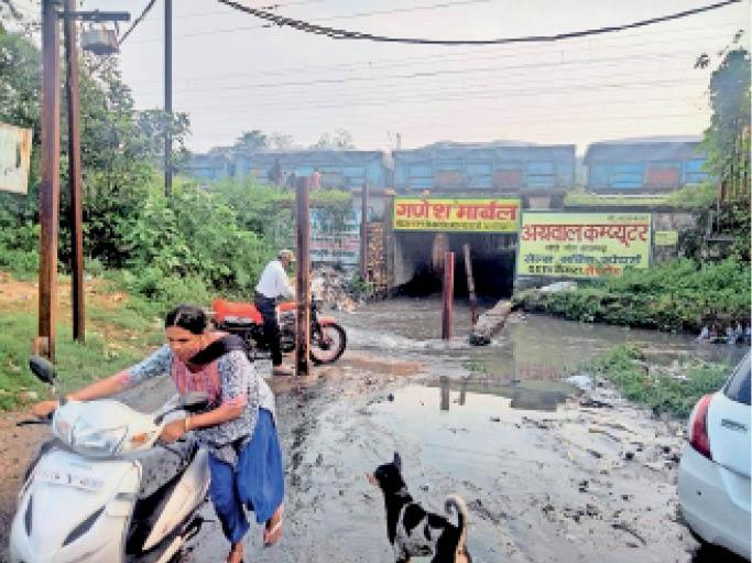 मालधक्का अंडरब्रिज में भरा नाले का पानी, फिर भी यहां से गुजरना लोगों की मजबूरी। - Dainik Bhaskar