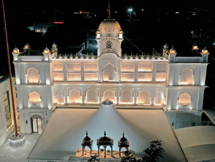 सौंदर्यीकरण का काम पूरा होने के बाद तैयार गुरुद्वारा श्री गुरु सिंह सभा माॅडल टाउन। - Dainik Bhaskar