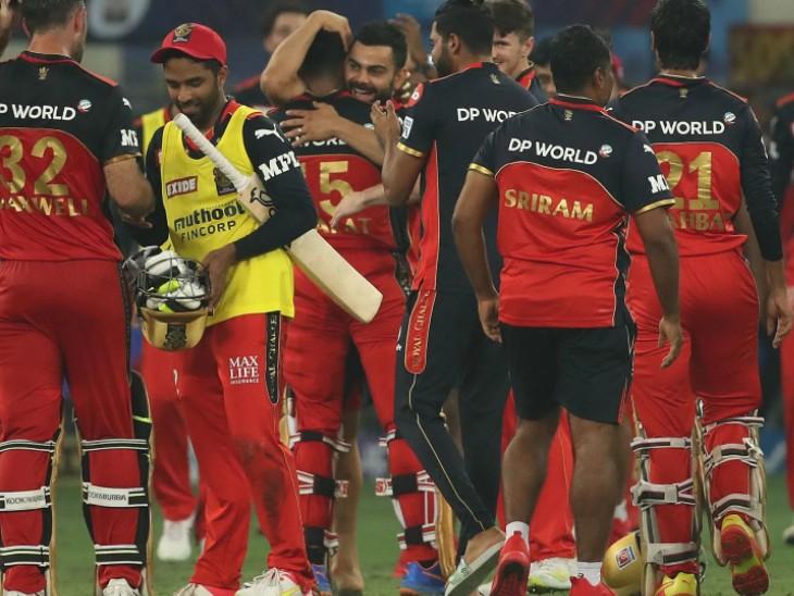 जीत की खुशी से बेंगलुरु के कैप्टन विराट कोहली उछल पड़े और अपने साथियों से लिपट गए। विराट के खुशी का ठिकाना नहीं था। RCB के लिए असली हीरो भरत थे, जिन्होंने 52 गेंदों में नाबाद 78 रनों की पारी खेली जिसमें आखिरी गेंद पर छक्का भी शामिल था।