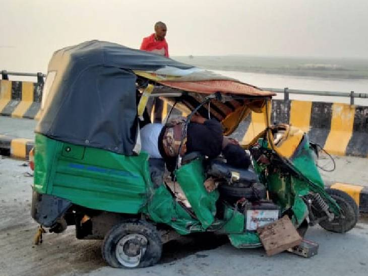 तेज रफ्तार डीसीएम ने मजदूरों से भरे ऑटो को मारी टक्कर, मची चीख पुकार; 4 घायल, 2 की हालत गंभीर|बहराइच,Bahraich - Dainik Bhaskar
