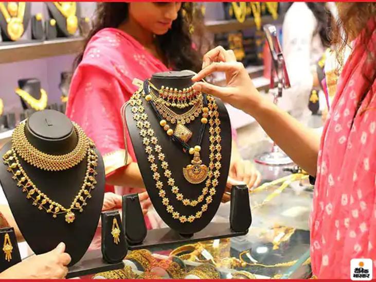 नवरात्री में 10 ग्राम 24 कैरेट सोने की कीमत बढ़कर पहुंची 48 हजार 600 रुपए, चांदी प्रति किलो हुई 150 रुपए महंगी|जयपुर,Jaipur - Dainik Bhaskar