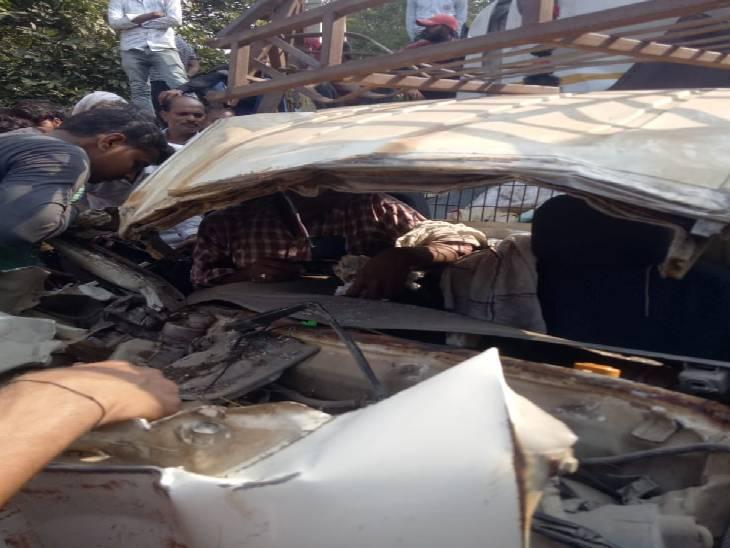 मैजिक को टेलर ने मारी टक्कर, 8 लोग हुए घायल|सोनभद्र,Sonbhadra - Dainik Bhaskar