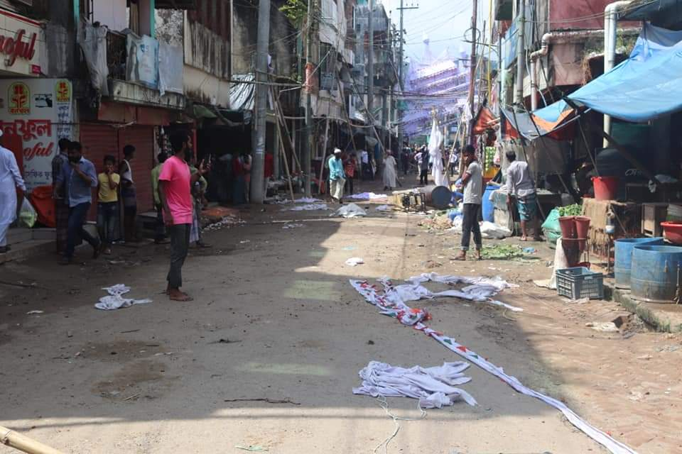 Goods scattered in the streets of Chittagaon after the attack.  (Photo Credits - U She Thowai Marma)
