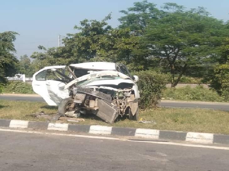 सीतापुर में NH-24 पर दो कारों की आमने-सामने हुई भिड़ंत, एक की मौत सहित 9 घायल सीतापुर,Sitapur - Dainik Bhaskar