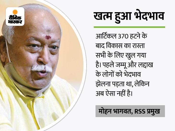भागवत बोले- आर्टिकल 370 हटने से पहले जम्मू-कश्मीर का 80% फंड नेताओं की जेब में जाता था देश,National - Dainik Bhaskar