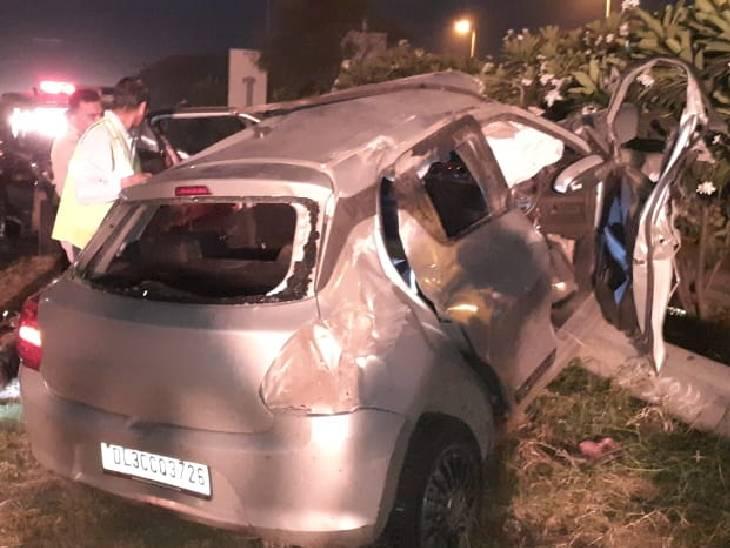 आगरा से आ रही थी स्विफ्ट, डिवाडर से टकराकर पलटी, 3 की हालत गंभीर|गौतम बुद्ध नगर,Gautambudh Nagar - Dainik Bhaskar