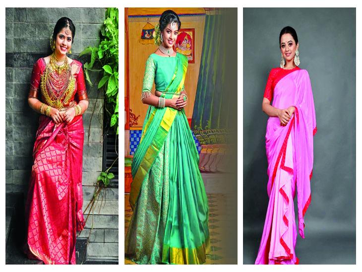सुहाग के पर्व पर परिवेश में पारम्परिक दिखने के साथ ही कुछ नयापन चाहती हैं, तो इस बारे में जानिए फैशन डिज़ायनर से... मधुरिमा,Madhurima - Dainik Bhaskar