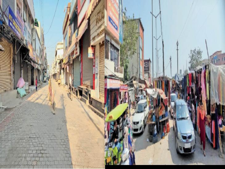 कपड़ा मार्केट में 4 घंटे में बदलती तस्वीर, हर मिनट लग रहा जाम, सिटी बस अड्डे के सामने सड़क चौड़ी करने का लोगों को नहीं फड़ी वालों को मिला फायदा, आधी सड़क पर कब्जा|अम्बाला,Ambala - Dainik Bhaskar