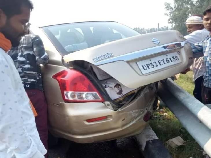 लखनऊ-आगरा एक्सप्रेस-वे पर दुर्घटनाग्रस्त कार में रखी थी शराब, पुलिस के पहुंचने से पहले लूट ले गए ग्रामीण|उन्नाव,Unnao - Dainik Bhaskar