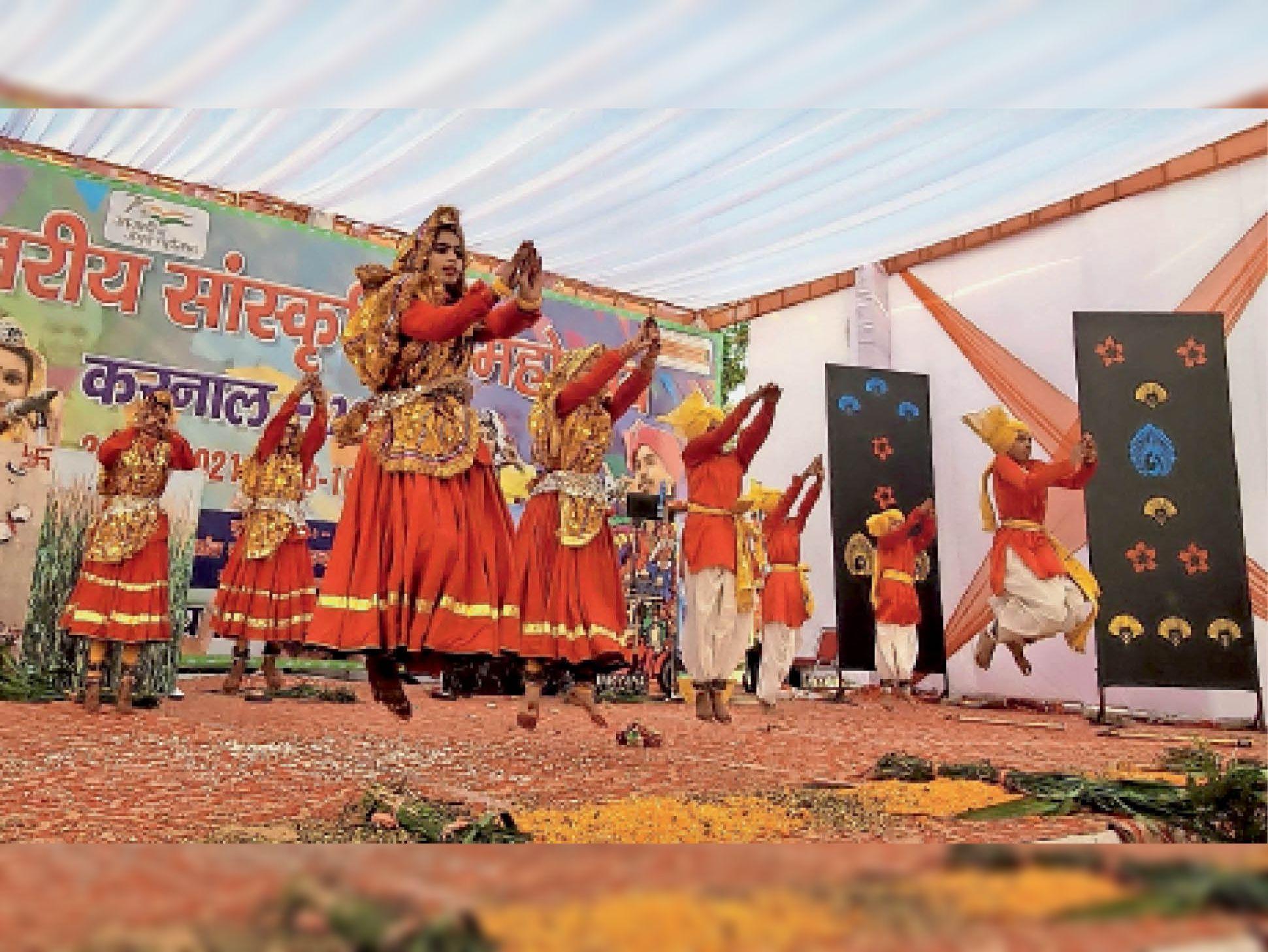 सांस्कृतिक महोत्सव में विद्यार्थियों ने हरियाणवी संस्कृति के बिखेरे रंग, 22 जिलों की टीमों ने दिखाई अपनी प्रतिभाएं करनाल,Karnal - Dainik Bhaskar