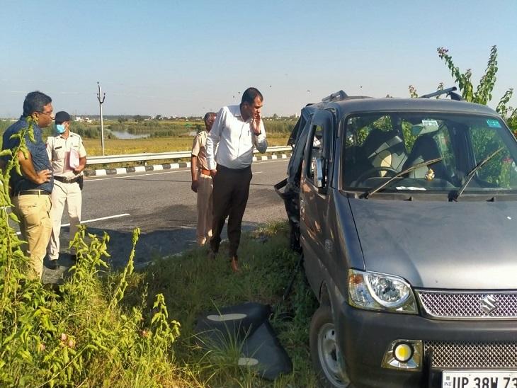 KMP पर हादसाग्रस्त गाड़ी को देखने के लिए स्पीड घटाई तो पीछे से ट्रक ने मारी टक्कर, एक की मौत|संभल,Sambhal - Dainik Bhaskar