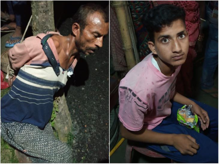 मोतिहारी के बच्चे के साथ मारपीट करते जा रहा था शख्स, लोगों ने पेड़ से बांधकर पीटा|मुजफ्फरपुर,Muzaffarpur - Dainik Bhaskar