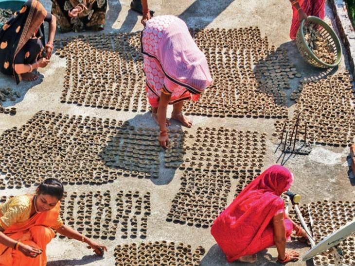 भोपाल के 10 गांव में गोबर से बन रहे 15 लाख सुगंधित दीये; अयोध्या-मथुरा भेजेंगे, हर दीये पर राम नाम भोपाल,Bhopal - Dainik Bhaskar