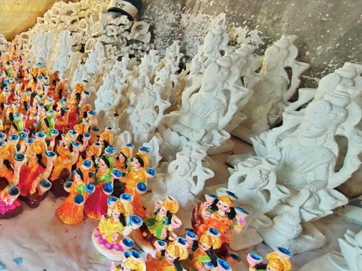 दिवाली पर पूजन के लिए डेढ़ लाख मूर्तियां तैयार, इंदौर-मथुरा, आगरा से भी मंगाएंगे भोपाल,Bhopal - Dainik Bhaskar