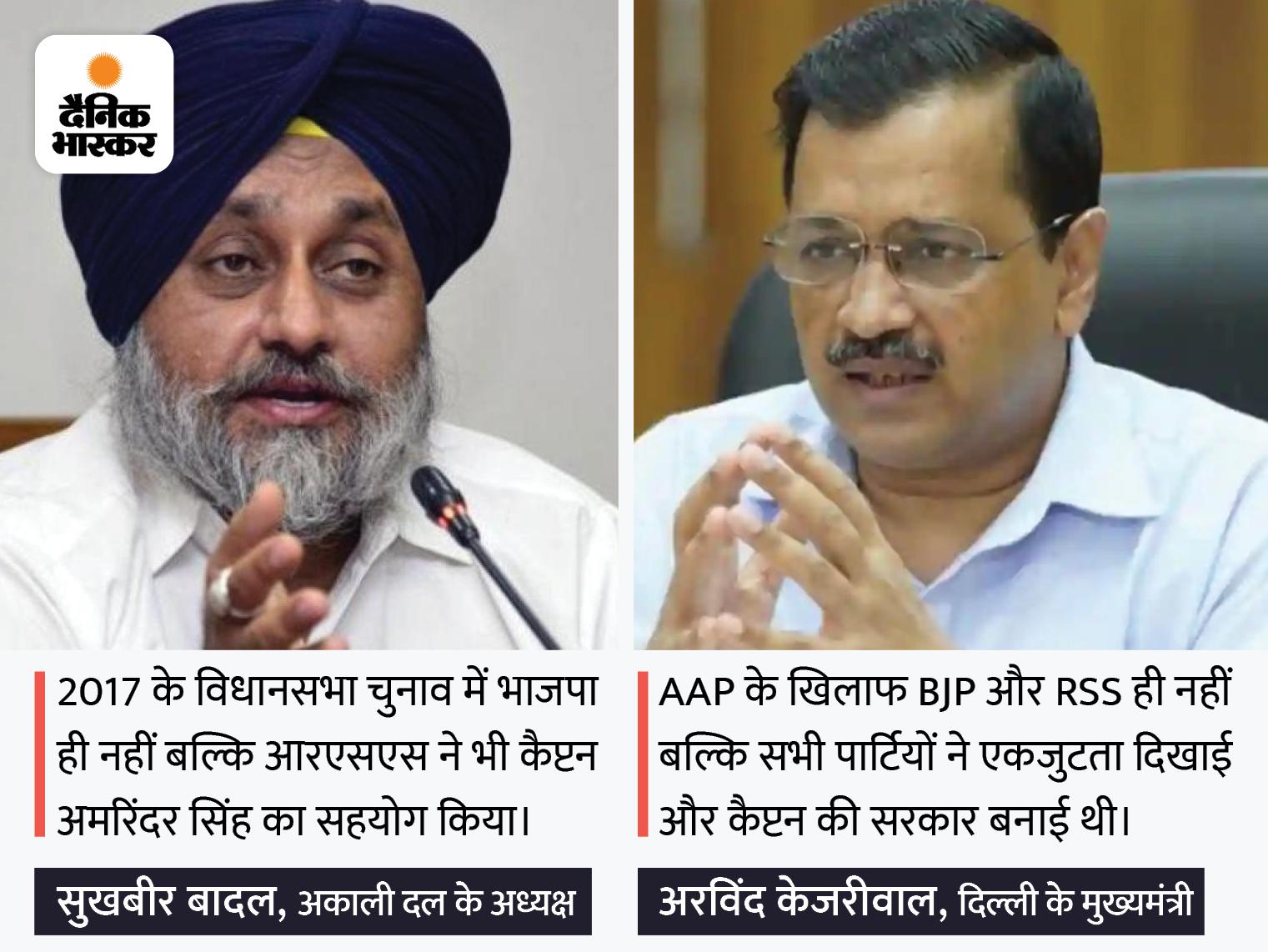 SAD चीफ बोले- RSS ने बनाया था कैप्टन को मुख्यमंत्री; AAP संयोजक ने कहा- आम आदमी सबको हराएगा देश,National - Dainik Bhaskar