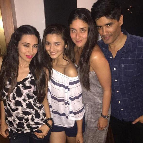 PHOTOS : पार्टीच्या मूडमध्ये दिसले शाहरुख, करीना, आलिया आणि करिश्मा| - Divya Marathi