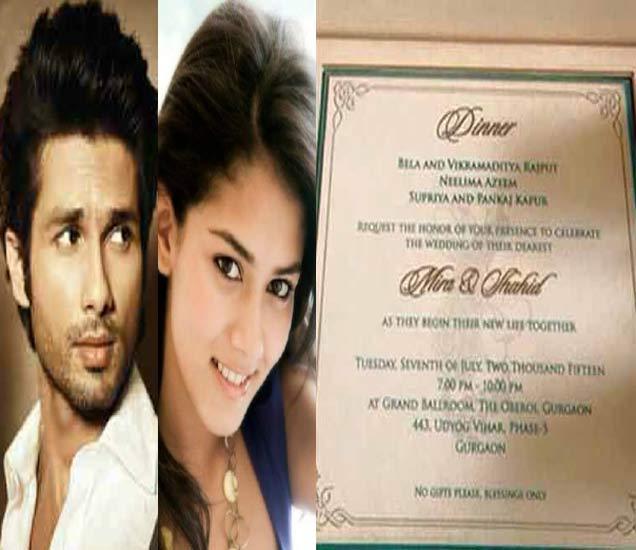 अशी आहे शाहिद कपूर आणि मीरा राजपूत यांच्या लग्नाची निमंत्रण पत्रिका, पाहा खास झलक देश,National - Divya Marathi