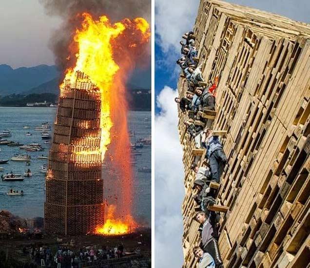 अशी बांधतात ऊंच इमारत नंतर लावलेली आग - Divya Marathi