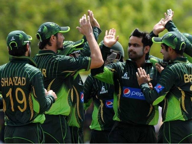 पाकिस्तानच्या विजयी संघाने सामन्यानंतर जल्लोष केला. - Divya Marathi