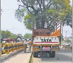 शहानूरमियाँ दर्गा परिसरात शहरात प्रवेश केलेल्या ट्रकचालकाची झाडाझडती घेताना पोलिस कर्मचारी. - Divya Marathi